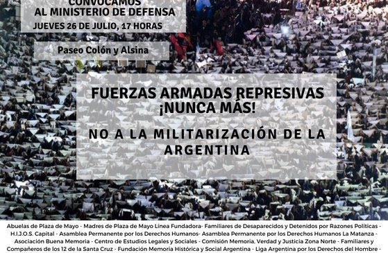 Repudio ante la decisión de Macri de sacar las Fuerzas Armadas a la calle