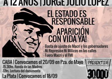 A 12 años de la desaparición de Jorge Julio López