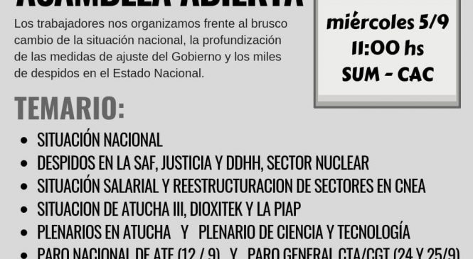 APCNEAN convoca a asamblea abierta por la situación del sector nuclear y el ajuste del gobierno