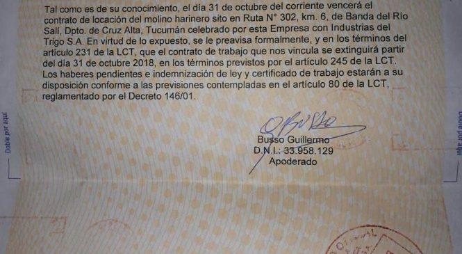 Molinos Cañuelas envió telegramas y confirmó que se va de Tucumán