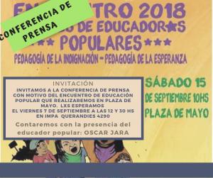 CONFERENCIA DE PRENSA: EDUCACION POPULAR EN PLAZA DE MAYO