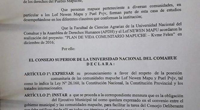 La Universidad del Comahue y su apoyo a las comunidades amenazadas por el intendente Quiroga