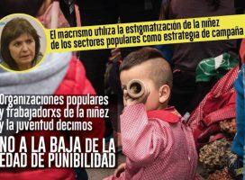 Organizaciones populares y lxs trabajadorxs de la niñez y la juventud decimos NO a la baja de edad de punibilidad.