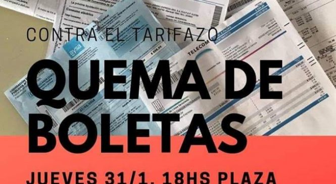 Quema de boletas contra los tarifazos de servicios públicos
