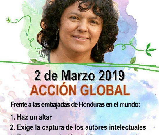 "Convocan a jornada de acción global ""Justicia para Berta Caceres"""