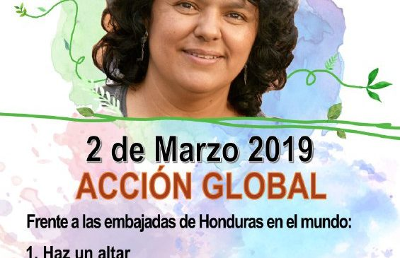 Acción global: Justicia para Berta Cáceres a tres años de su siembra