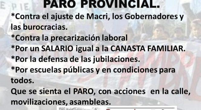 22 y 25 de Marzo, paro provincial