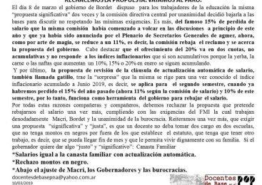 Rechacemos la propuesta, vayamos al paro (Docentes Paraná)