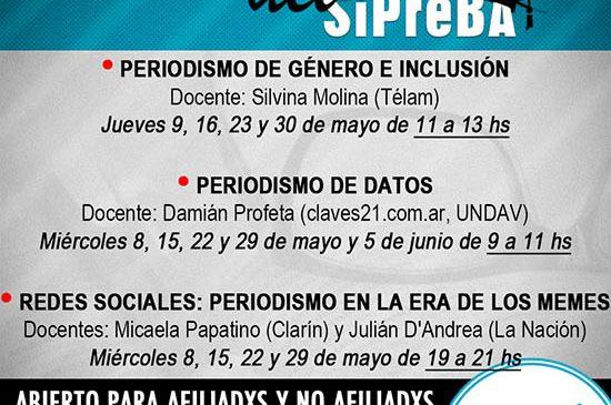 En mayo comienza el Ciclo 2019 de los Cursos del SiPreBA