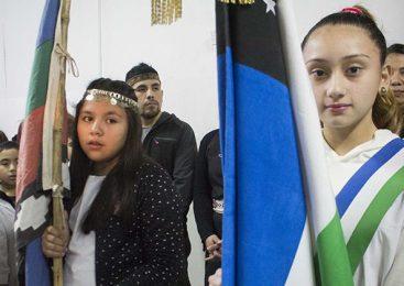 La bandera Mapuche estuvo presente en actos escolares de Bariloche