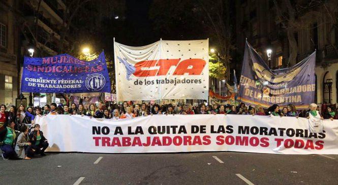 Mujeres Sindicalistas marcharán contra el fin de las moratorias previsionales