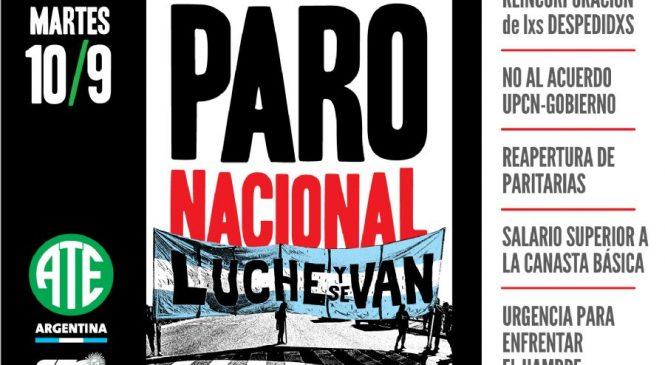 10/9: Paro Nacional de ATE