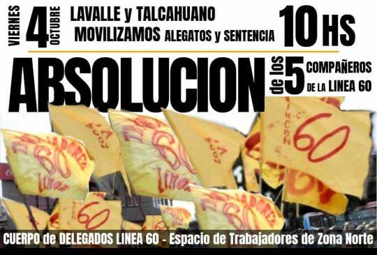 Línea 60: convocan de urgencia a movilizar por la absolución de 5trabajadores