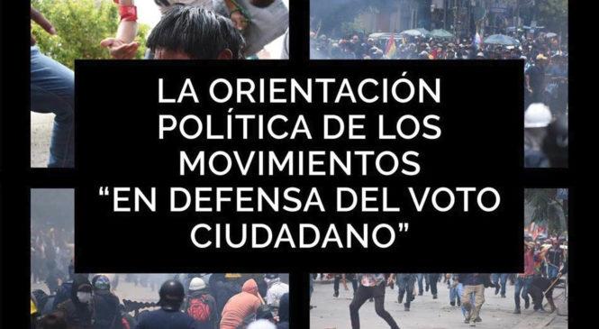 """Bolivia: La orientación política de los movimientos """"en defensa del voto ciudadano"""""""