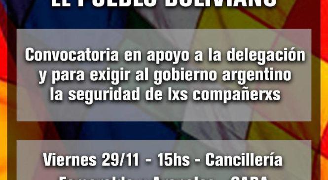 Bolivia: gobierno de facto amenaza a la delegación de solidaridad
