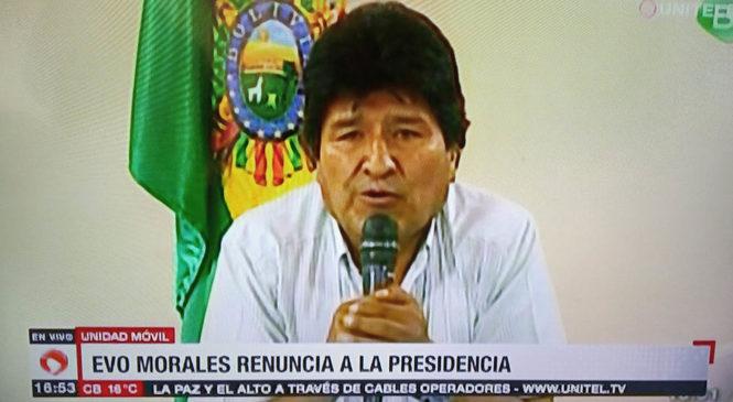 Se consumó el golpe de Estado en Bolivia: renunció Evo Morales