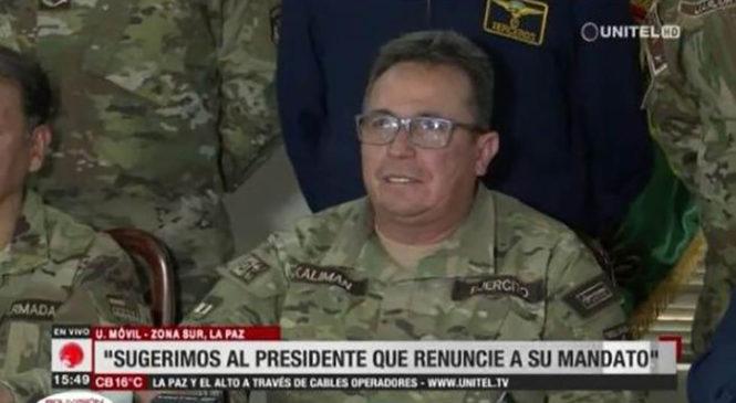 "Fuerzas Armadas de Bolivia ""sugieren"" a Evo renunciar a cargo constitucional"