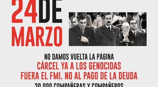 """A 44 años del golpe: """"No olvidamos, no perdonamos, no nos reconciliamos"""""""