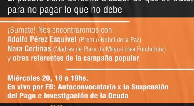 Adolfo Pérez Esquivel y Nora Cortiñas por la suspensión del pago de la deuda externa
