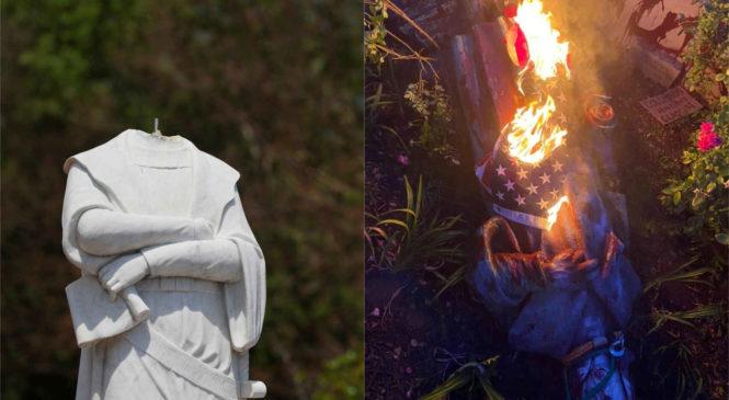 """""""Colón era un genocida"""": decapitan, derriban y queman varias de sus estatuas en Estados Unidos"""