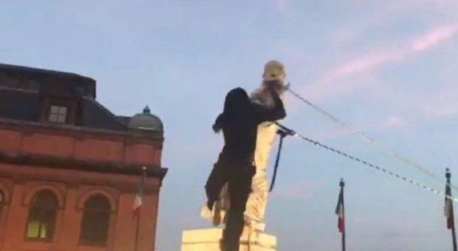 Estados Unidos: derriban otra estatua de Cristóbal Colón en una nueva marcha antirracista