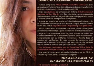 Denuncian causa armada contra la maestra y militante Angie Lorena Solano Cortés