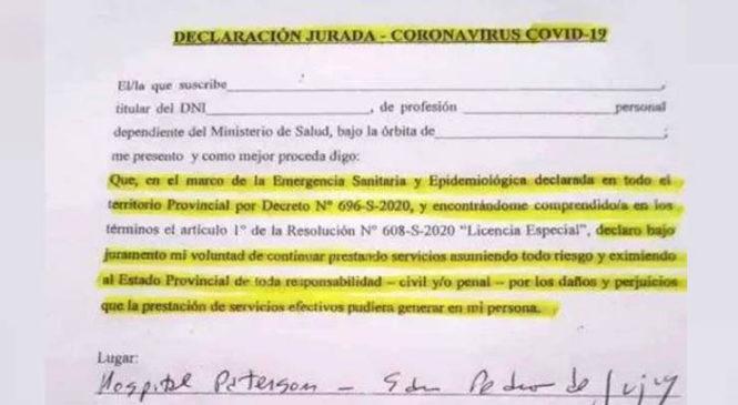 """Crisis sanitaria en Jujuy: Trabajadores de la salud repudiaron """"formulario criminal"""" de Gerardo Morales"""