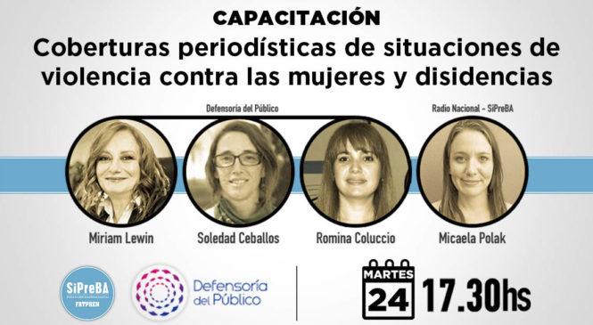 """Capacitación: """"Coberturas periodísticas de situaciones de violencia contra las mujeres y disidencias"""""""