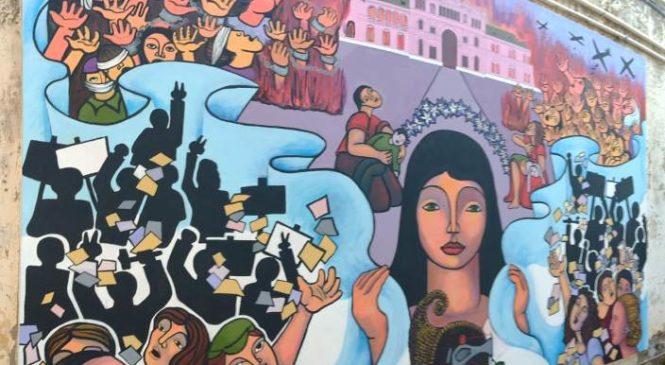 Se inauguró un mural alusivo al golpe de 1955 en el sitio ex Comisaría 1ª de Pergamino